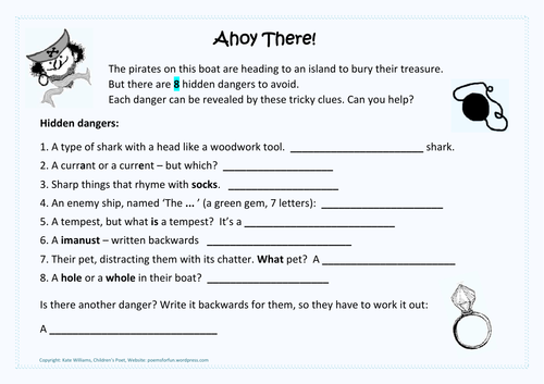 Ahoy there! Pirate-themed literacy quiz + answer sheet