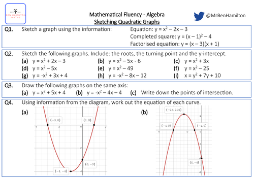 Sketching Quadratic Graphs - Fluency: Solving Simultaneous Equations
