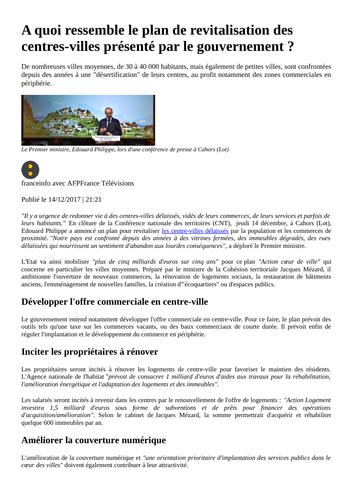 Le plan de revitalisation des centre-villes - Gouvernement Macron