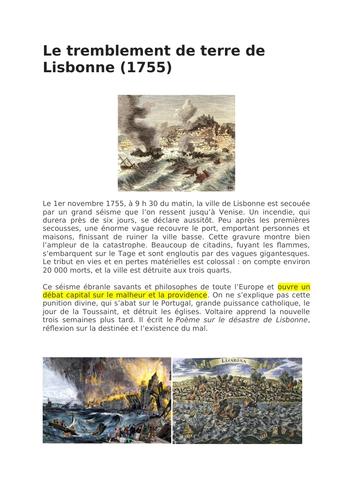 """Candide - contexte """"le tremblement de terre de Lisbonne"""""""