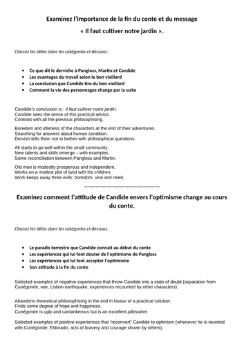 Candide - Plans for AS essays