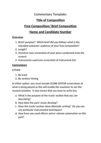 Edexcel GCSE Music composition commentary template