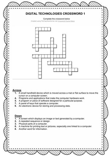 Digital Technologies Crossword stage 1