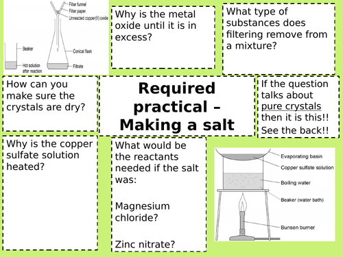 required practicals paper 1 chemistry