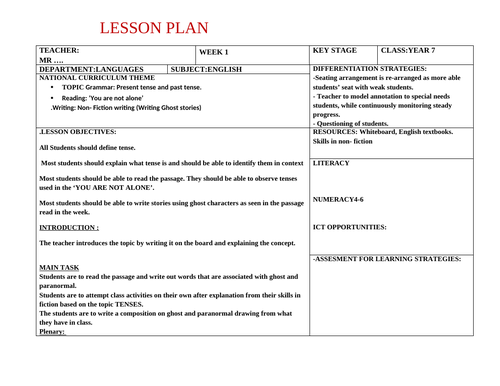 Lesson Plan  for Year Group 7 in English Language