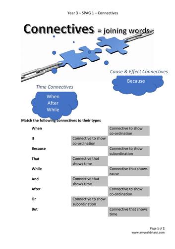 Year 3 - SPAG 1 - Connectives, Noun phrases & Prepositions