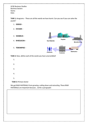 AQA 9-1 GCSE Business Studies Types of Sectors Worksheet Pack