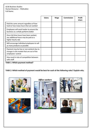 AQA 9-1 GCSE Business Studies - HR Motivation Worksheet