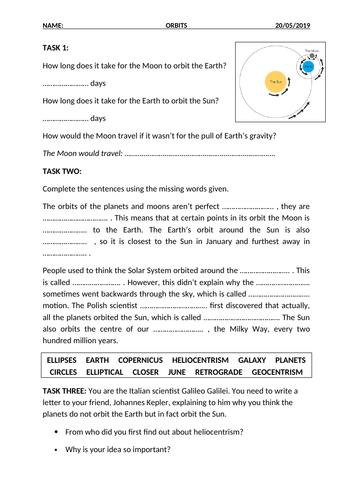 Orbits Worksheet