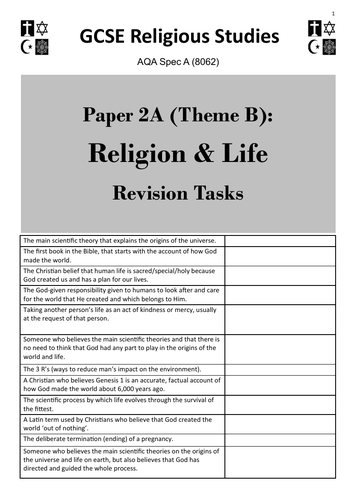 Religion & Life (Theme B: AQA GCSE Religious Studies) - student revision activities booklet