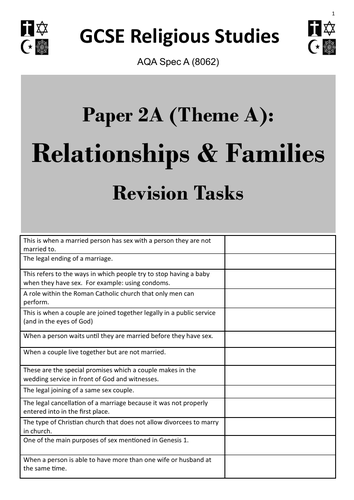 Relationships & Families (Theme A: AQA GCSE Religious Studies) - student revision activities booklet