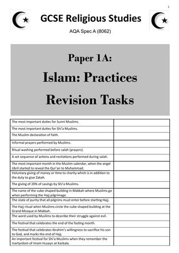 Islam: Practices (AQA GCSE Religious Studies Paper 1) - student revision activities booklet