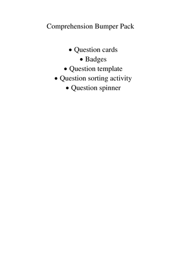 Reading comprehension/guided reading  bumper pack