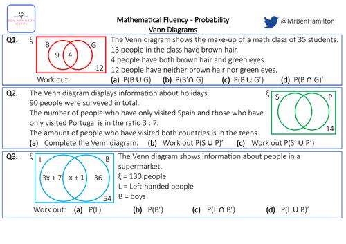 Venn Diagrams - Fluency: Ratio and solving equations