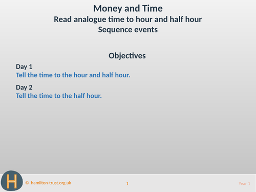 Analogue time to half/hour; sequencing - Teaching Presentation - Year 1