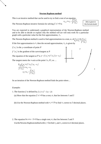 Newton Raphson method (new A level)