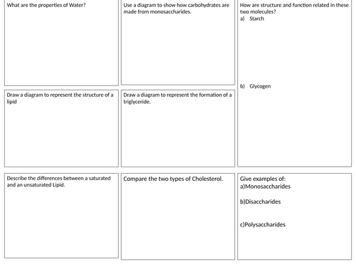 Edexcel Biology A Revision sheets