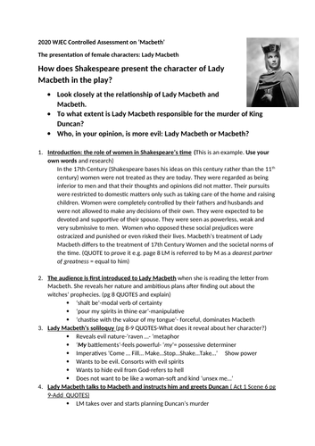 Essay plan on the Role of Lady Macbeth for WJEC 2020 Literature NEA- Controlled Assessment