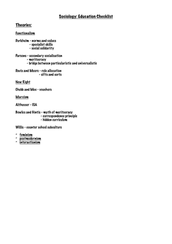A-level Sociology Education Checklist