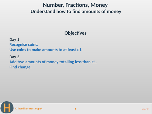 Understand how to find amounts of money - Teaching Presentation - Year 2