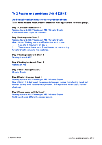 Problem solving and investigations - Practice Worksheets & Answers - Year 2