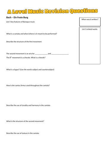 A Level Music (Edexcel) Revision Questions AOS 1 and 2