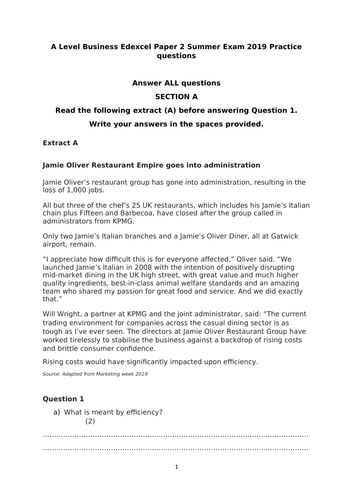 Practice questions for Edexcel A Level Business Paper 2 in AS format but suitable for A Level