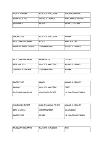 Revision bingo sheets for GCSE PE