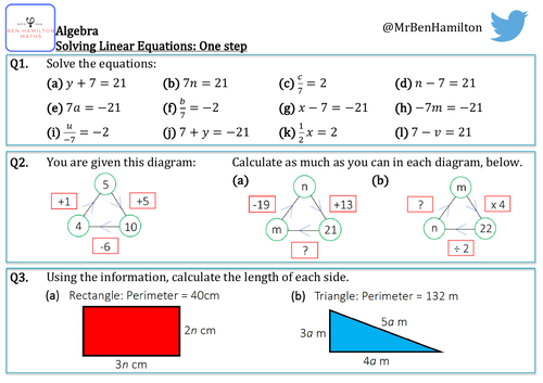 Solving Linear Equations (One Step) Reasoning Resource: With Perimeter & Problem Solving