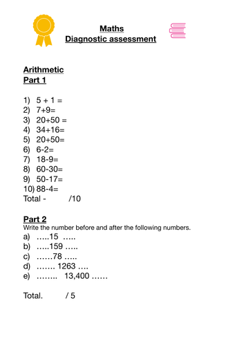 Maths grade 4 - 6 diagnostic assessment with additional word search
