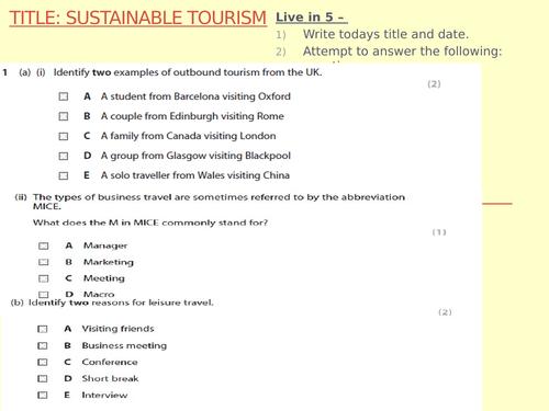BTEC Level 2 - Travel and tourism - Unit 1  - lesson 2