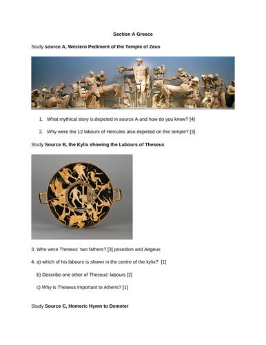 Myth and Religion Mock exam paper