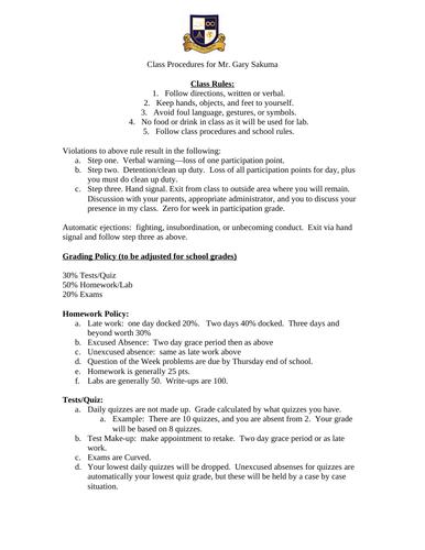 Class Procedures for Science