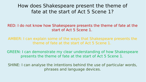 Romeo and Juliet Unit/Scheme of Work - Act 5. 6 lessons. Key extracts, quotations and questions.