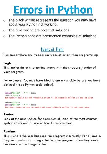 Python Programming Guide - Common Errors
