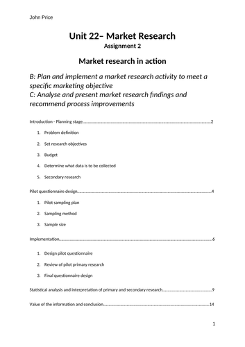 Unit 22 Market Research Assignment 2 Learning Aim B & C Plan activity to meet marketing objective