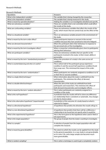 research methods folding revision questions gcse psyc edexcel