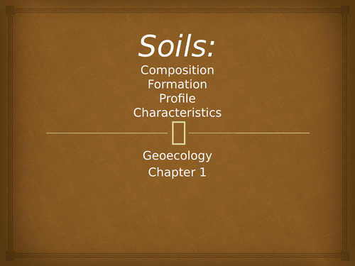 Explanation on soils, the types , characteristics and  profile.