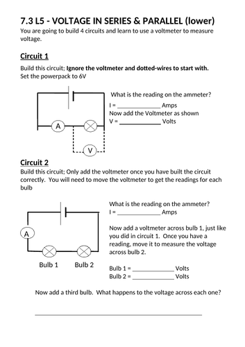 Voltage in series and parallel circuits