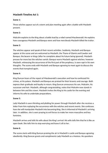 Macbeth - Timeline Summary of Act 1