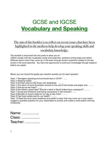 English KS3 and KS4 Speaking / Vocabualry