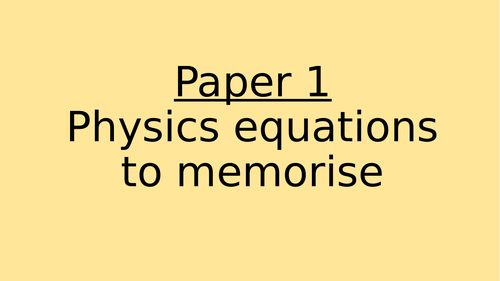 AQA Triology Physics Paper 1 Equations (Triangles)