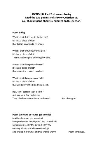 5 Unseen Poetry Exam Questions Edexcel