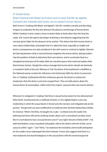 Edexcel A Level Poems of Decade Essays