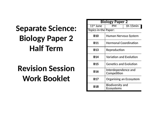AQA GCSE Biology Paper 2 Separate Science Revision Session
