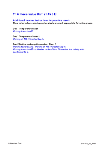 Negative numbers in temperature - Practice Worksheets & Answers - Year 4