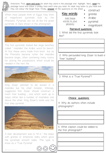 Ancient Egyptian Reading Skills Comprehension Sheets Year 3 and 4 (Pack 2)