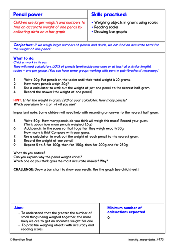 Use SI units; bar charts - Problem-Solving Investigation - Year 4