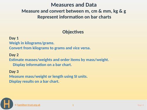 Use SI units; bar charts - Teaching Presentation - Year 4