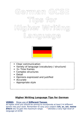 German GCSE Language Tips for Higher Writing